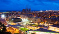 Panoramic night view of barcelona catalonia Stock Photos