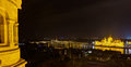 Panoramic night view of Budapest from Fisherman's Bastion Stock Photography