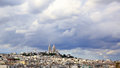 Panoramic rainy sky over Montmartre, in Paris Royalty Free Stock Photo