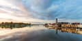 Panoramic river view of the dutch historic city deventer ijssel with reflected in water Stock Image