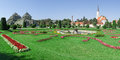 Panoramic of schonbrunn gardens greenhouse and church maria hietzing in austria vienna Royalty Free Stock Photos