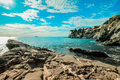 Panoramic seascape, blue sky with clouds and horizon. Royalty Free Stock Photo