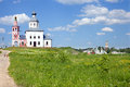 Panoramic sight on small town village and old church russia Stock Image