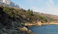 Panoramic sight of town alupka famous resort in region crimea on black sea in ukraine Stock Photography