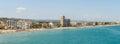 Panoramic Skyline View Of Peniscola City Beach Resort At Mediterranean Sea