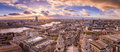 Panoramic skyline view of south and west London at sunset with beautiful clouds. Royalty Free Stock Photo