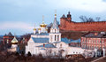 Panoramic spring april view church and kremlin nizhny novgorod russia Stock Photo