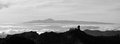 Panoramic sunset with monochrome effect, Canary islands Royalty Free Stock Photo