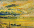 Panoramic sunset view of danube river an oil painting on canvas a colorful bright yellow over with two ships near the bank Royalty Free Stock Images