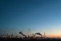 Panoramic sunset view of a large industry area Royalty Free Stock Photo