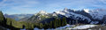 Panoramic swiss mountains scenic panorama of snow covered klewenalp and ski slopes nidwalden switzerland Stock Photography