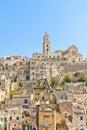 Panoramic of tipical stones and church of matera view basilicata italy Stock Images