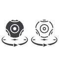 Panoramic video camera line icon, outline and solid vector sign,