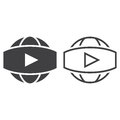 Panoramic video symbol. line icon, outline and solid vector sign