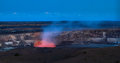 Panoramic view of active kilauea volcano crater hawaii volcanoes national park big island Royalty Free Stock Photography