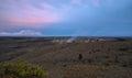 Panoramic view of active kilauea volcano crater at night hawaii volcanoes national park big island Stock Photo