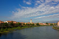 Panoramic view of adige river with the famous basilica di san zeno in verona italy in a bright sunny day with beautiful white Stock Photo