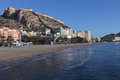 Panoramic view of alicante beach and santa barbara castle Stock Photos