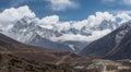 Panoramic view of Ama Dablam and Kangtega mountain peak from Thu Royalty Free Stock Photo