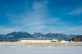 Panoramic view on animal farm on winter sunny day on blue sky background Royalty Free Stock Photo