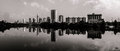 Panoramic View of Austin Texas Skyline monochrome