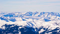 Panoramic view of Austrian alps from the top of Kaprun glacier Royalty Free Stock Photo
