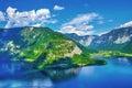 Panoramic view on Austrian mountains Alps lake Royalty Free Stock Photo