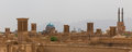 Panoramic view of badgirs and mosques of Yazd Royalty Free Stock Photo