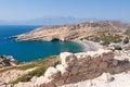 Panoramic view beach of matala seen the mountain near heraklion town on crete greece in Royalty Free Stock Photos
