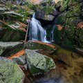 Panoramic view beautiful autumn waterfall Stock Photography