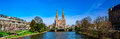 Panoramic view of beautiful church in Strasbourg from the river