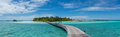 Panoramic view of the beautiful tropical island at Maldives Royalty Free Stock Photo