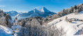 Panoramic view of beautiful winter landscape in the Bavarian Alp Royalty Free Stock Photo