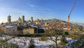 Panoramic view of bergamo old town in winter italy Stock Photos