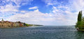 Panoramic view of bodensee lake and konstanz germany city the place where rhine river begins Royalty Free Stock Photography