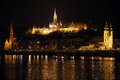 Panoramic view of budapest by night with danube river hungary january panorama from the the matthias church and fisherman bastion Royalty Free Stock Photos
