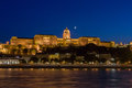 Panoramic view of Budapest at night. View of the castle hill in Budapest Royalty Free Stock Photo