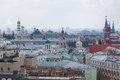 Panoramic view of the building from the roof of Moscow in cloudy weather during the day Royalty Free Stock Photo