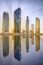 Panoramic view of Business bay and Lake Tower, reflection in a river, Dubai UAE Royalty Free Stock Photo