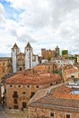 Panoramic view of caceres extremadura spain birds eye from the medieval city from the tower the cathedral its historic center is Stock Images