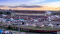 Panoramic view of the the Calgary Stampede at sunset