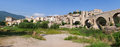 Panoramic view of Castle Besalu Stock Photos
