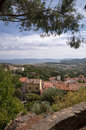Panoramic view from castle vertical at bormes les mimosas france Royalty Free Stock Images
