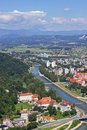 Panoramic view of celje from castle Royalty Free Stock Photo