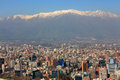 Panoramic view of the center of Santiago de Chile at evening with snowy Andes in the background Royalty Free Stock Photo
