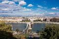 Panoramic view on Chain Bridge in Budapest, Hungary Royalty Free Stock Photo