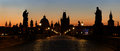 Panoramic view of charles bridge before dawn prague czech republic Stock Photos
