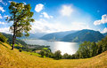 Panoramic view of the city of zell am see austria in salzburg Royalty Free Stock Image