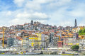 Panoramic view of colorful house in old town Porto, Portugal Royalty Free Stock Photo