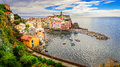 Panoramic view of colorful Vernazza village in Cinque Terre Royalty Free Stock Photo